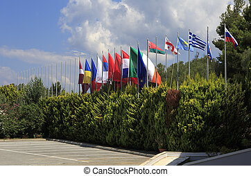 Flags of different countries. Porto Carras Grand Resort....