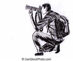 illustration Photographer sketch on paper
