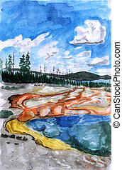 Illustration Yellowstone on paper watercolor