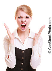 Angry businesswoman furious woman screaming - Negative...