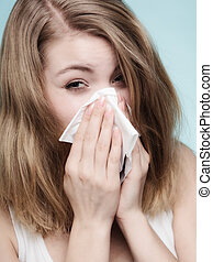Flu allergy Sick girl sneezing in tissue Health - Flu cold...