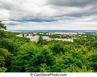 Zabudowanie, antena, okręg, morze, wieża,  Gdańsk, Prospekt