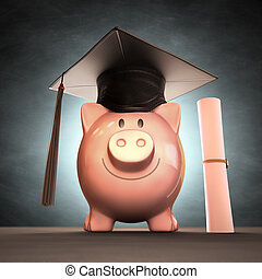 Saving Money To Graduation Day - Graduation cap on piggy...