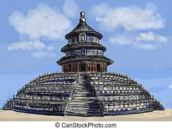 cg painting Temple of Heaven