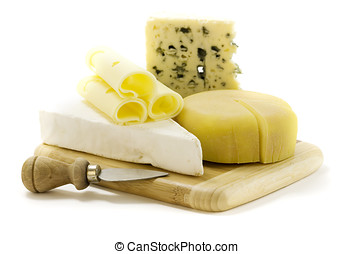 cheese - 4 kinds of cheese with a cheese knife