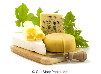 cheese - 4 kinds of cheese with a cheese knife and grape...