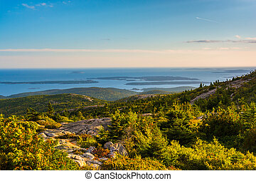 Evening view from Caddilac Mountain in Acadia National Park,...