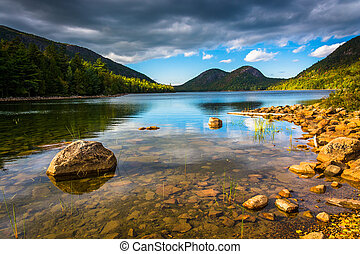 Jordan Pond and view of the Bubbles in Acadia National Park,...