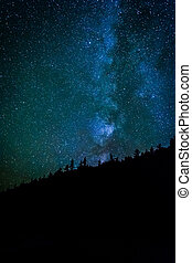 The Milky Way in the night sky at the Sand Beach at Acadia...