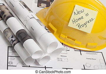 House blueprint construction - construction drafts and tools...