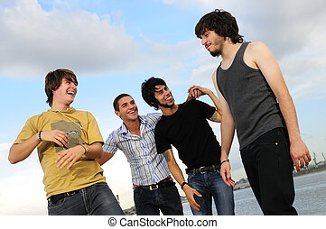 Casual group of male friends - Portrait of young happy group...