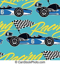 Open wheel racing car seamless pattern