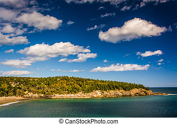 View of Newport Cove and rocky cliffs in Acadia National...