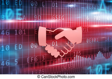 Handshake abstract with red background red hands