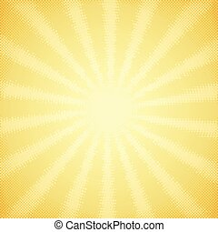 Vintage card with halftone sun rays - Vintage scratched card...