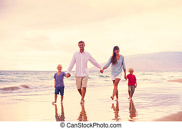 Happy Family with Two Young Kids - Happy Young Family...