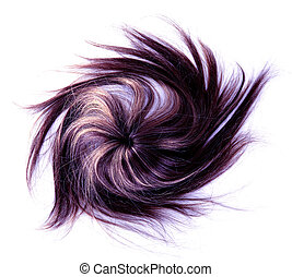 long hair - long purple hair style on white isolated...