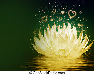Magical lotus flower - illustration on esoteric theme