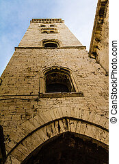 Tall bell tower - an antique church located in Barletta, a...