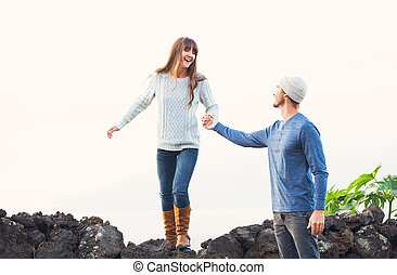 Happy Young Couple in Love - Happy Young Couple Having Fun...