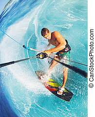 Kitesurfing - Kiteboarding, Extreme Sport. Fun in the ocean,...