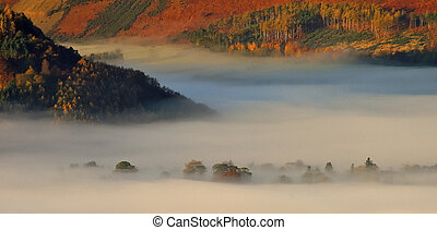 Mist over Borrowdale - Mist covering Borrowdale valley in...