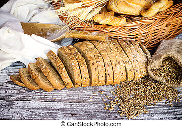 bakery products - Variety of baked products in basket on...
