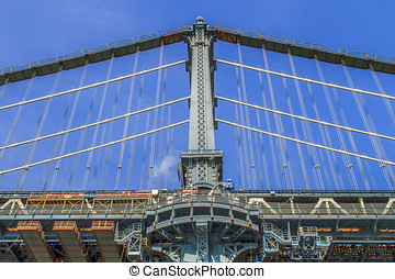 Views of New York City, USA. Manhattan Bridge.