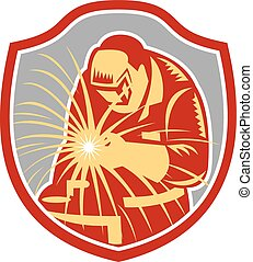 Welder Welding Working Shield Retro - Illustration of welder...