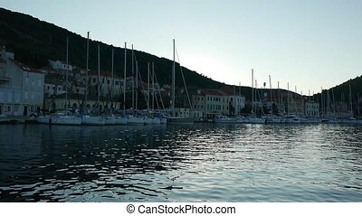 Port with many sailboats - View at port at island Vis with...