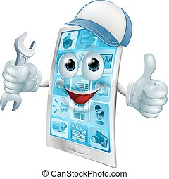 Phone repair cartoon character in cap with spanner doing a...