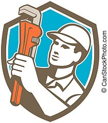 Plumber Holding Wrench Shield Retro - Illustration of a...