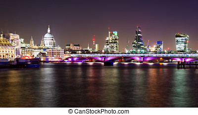 London, night view with Blackfriars bridge and St Pauls...
