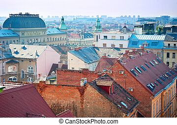 Zagreb skyline - Old Town of Zagreb in the morning light....