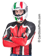Motorcycle - Portrait of a motorcyclist biker in red...