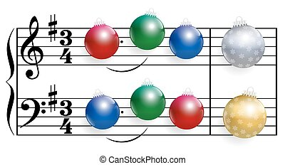 Christmas Song Balls - Christmas song composed of colorful...