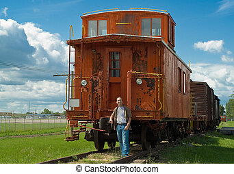 Train Caboose - A train caboose shot on a partly cloudy day...