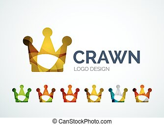 Crown logo design made of color pieces - Abstract crown logo...