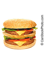 Hamburger, with cheese, tomatoes and lettuce, isolated on...