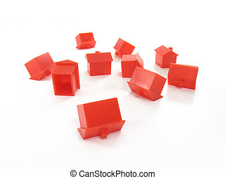 House crash - Collapsed monopoly houses isolated on a white...