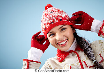 Casual winter style - Pretty woman in red and white...