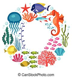 Marine life background design with sea animals