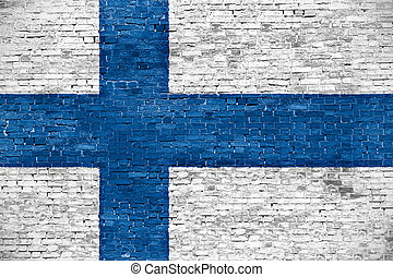 Finnish flag over old wall - Finnish flag over old brick...