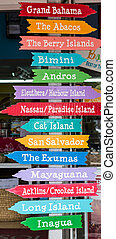Island Signs in Nassau Bahamas - Colorful Signs Pointing to...