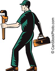Plumber Walking Carry Toolbox Wrench Woodcut - Illustration...