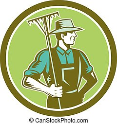 Organic Farmer Rake Woodcut Retro - Illustration of organic...
