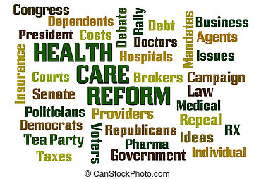 Health Care Reform Word Cloud on White Background