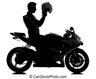 Motorcycle - Silhouette of a motorcycle racer with helmet on...
