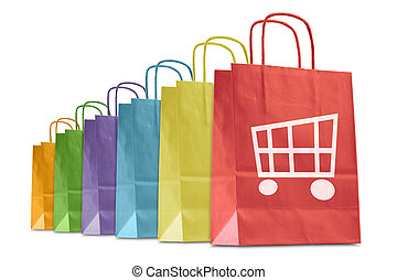 shopping bags - colorful shopping bags with e-commerce icon,...