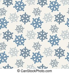 Vector seamless pattern with colorful snowflakes in blue tones